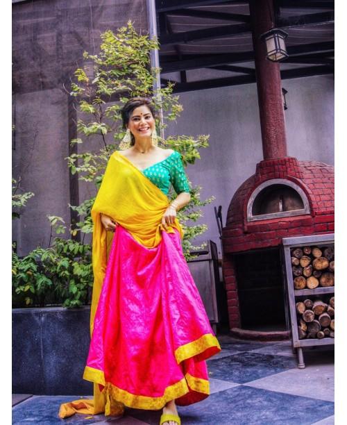 Raw Silk Lehanga with Benarsi Brocade Blouse