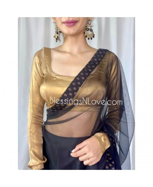 Sunaheri (Golden Georgette Full Sleeve Blouse)