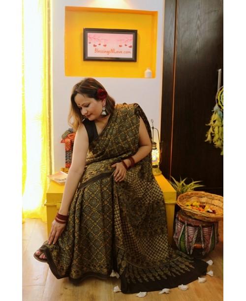 Ajrakh Handblock Print Modal Silk Saree