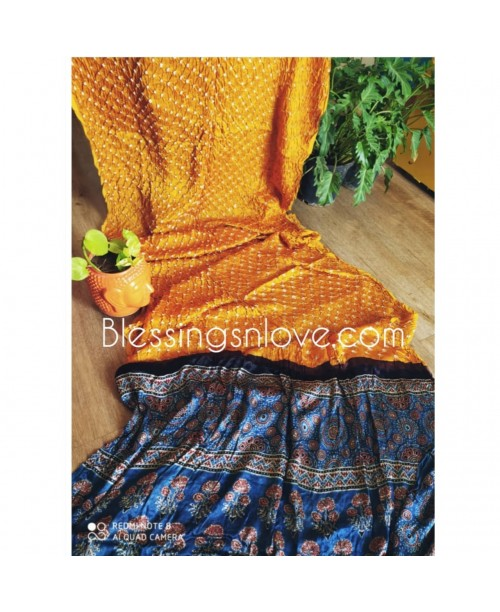 Ajrakh Bandhani Saree (Modal Silk)