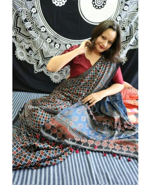 Ajrakh Modal Silk Saree