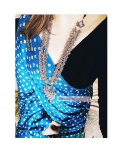 Blue Ajrakh Bandhani Modal Silk Saree