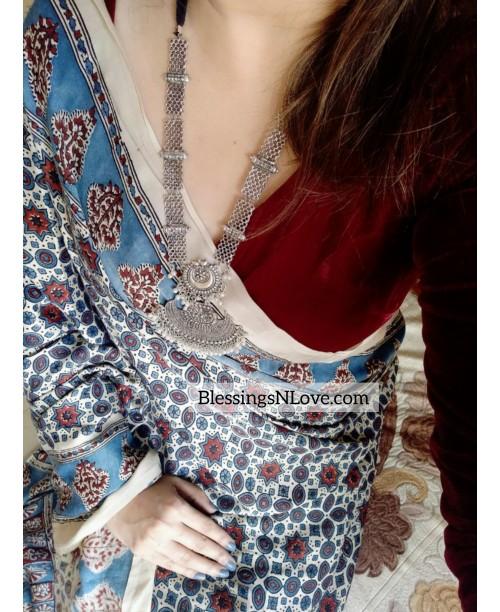 Off White And Blue Modal Silk Ajrakh Saree