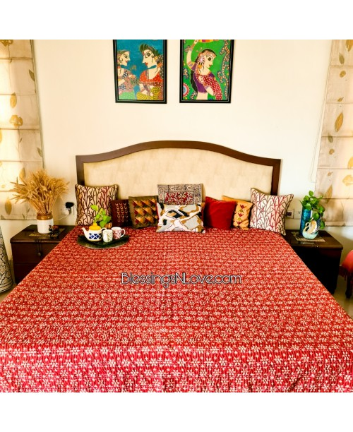 Brick Red Kantha Block Print Bed Spread ( SOLD)