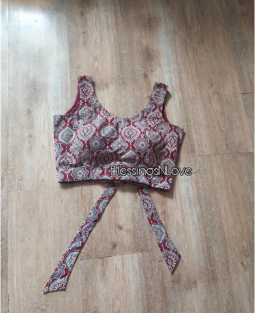 Ajrakh Padded Blouse (Back-knot)