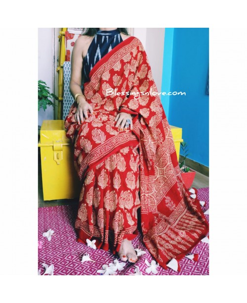 Red Ajrakh Cotton Mul Saree (HandBlock print)
