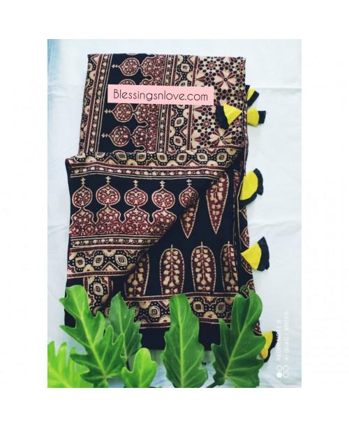 Ajrakh Handblock print Cotton Mul Saree