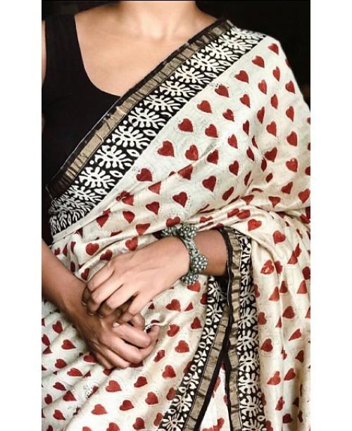 Chanderi Cotton Silk Heart motifs Saree