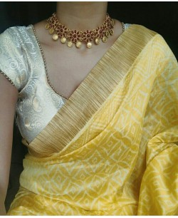 Yellow Silk Cotton Gicha Border Block Print Saree