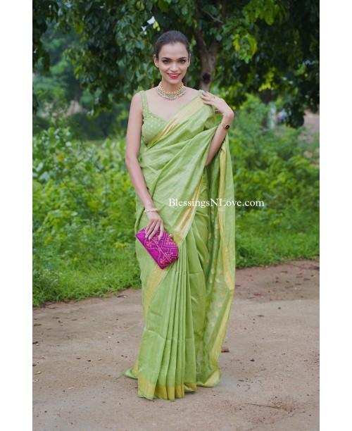 Green Silk Linen Handwoven Saree
