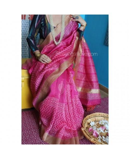 Pink Silk Cotton Block Print Saree (Gicha Border)