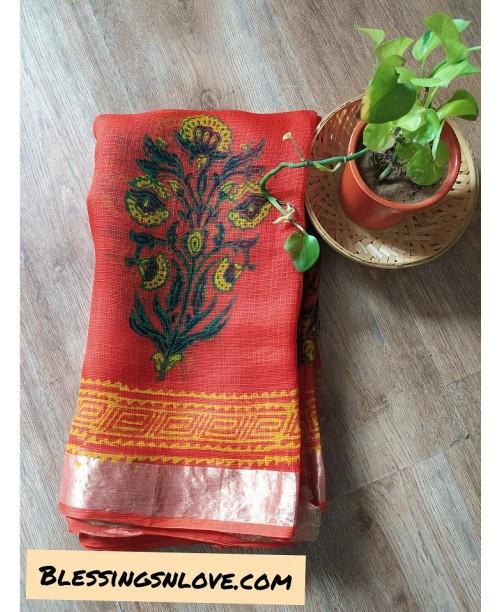 Pure Kota Silk Hand Block Print Saree
