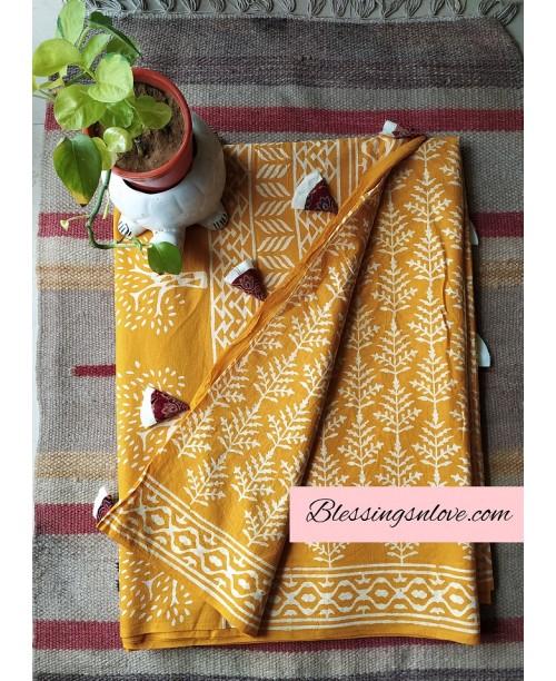 Yellow Cotton Mul Saree