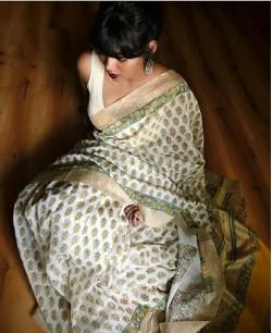 White Cotton Silk Gicha Border Saree