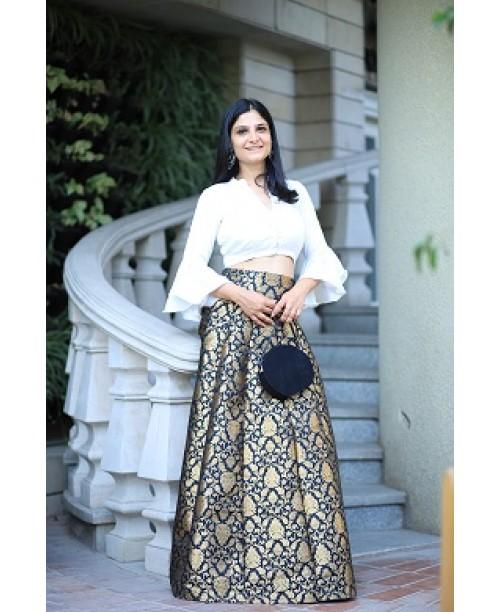 Benarsi Brocade Skirt with Satin Silk Top ( OUT OF STOCK)