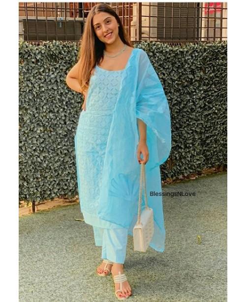 Blue Applique Cut Work Cotton Suit