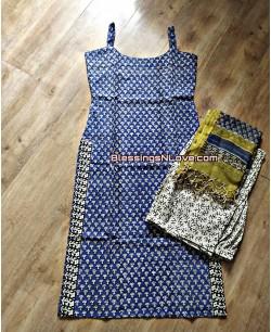 Blue And Beige Cotton Block Print Suit