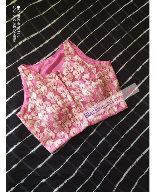 Pink Net Embroidery Blouse