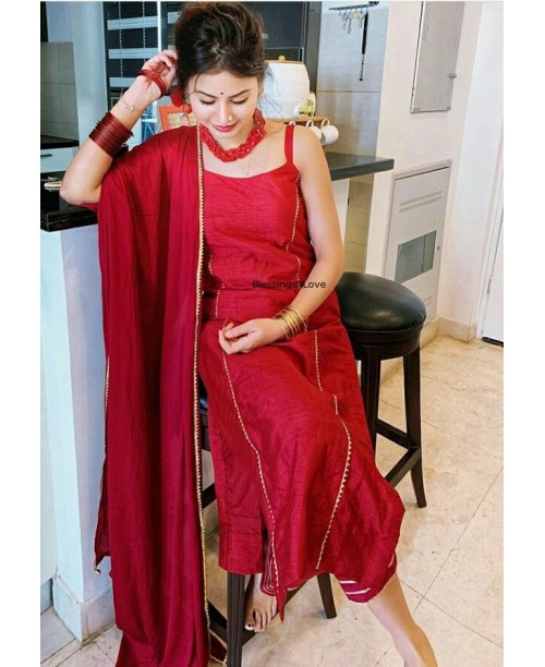 Maroon Red Raw Silk Suit