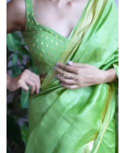 Green Georgette Brocade Padded Blouse