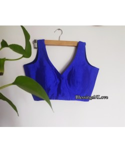Blue Raw Silk Blouse
