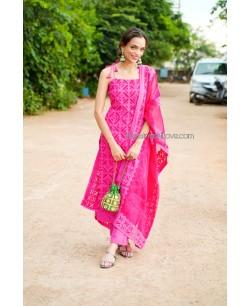 Hot Pink Applique Cut Work Suit