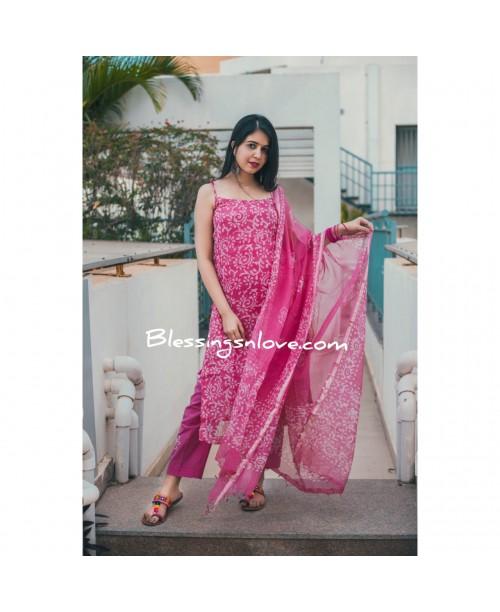Pink Kota Doria Stitched Suit