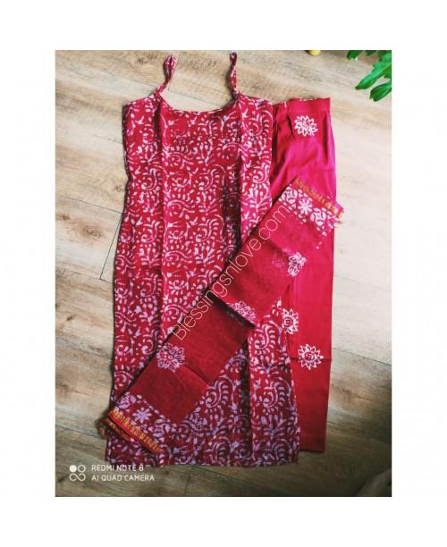 Red Kota Doria Stitched Suit