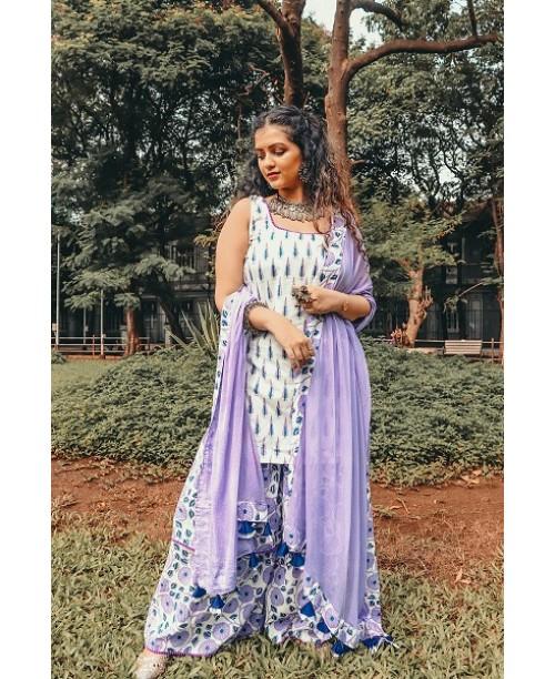 White And Purple Floral Sharara Set
