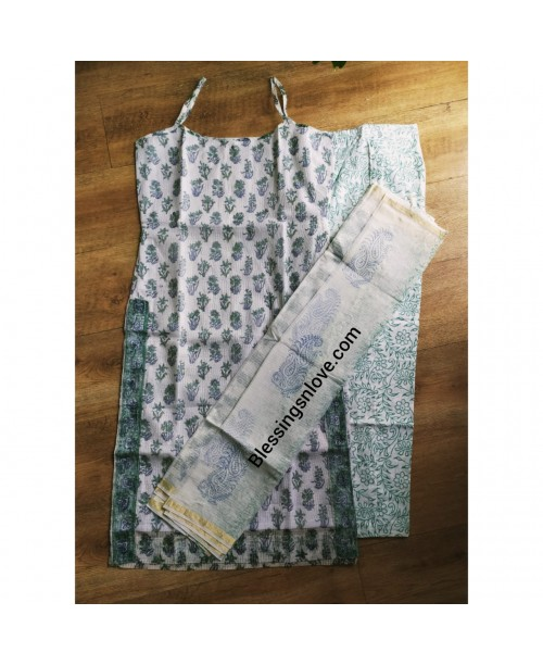 White Kota Doria Stitched Suit