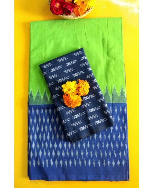 Pochampalli Ikat Handwoven Cotton Saree (Green-Blue)