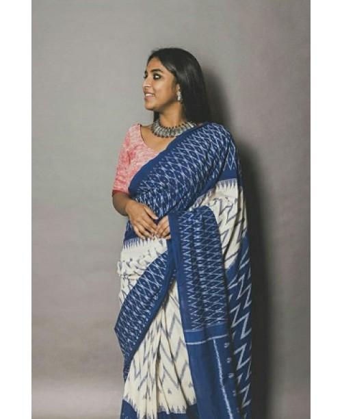 White And Blue Cotton Ikkat Saree