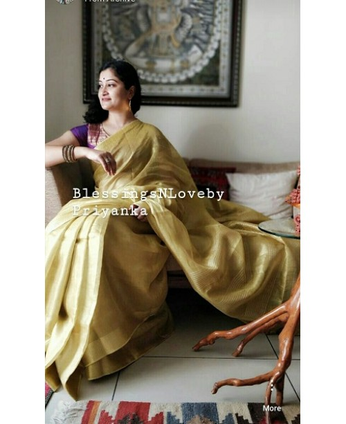 Gold Tissue Silk Linen Handwoven Saree