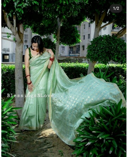 Green Silk Linen Handwoven Saree