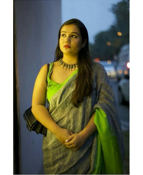 Grey And Green Linen Saree