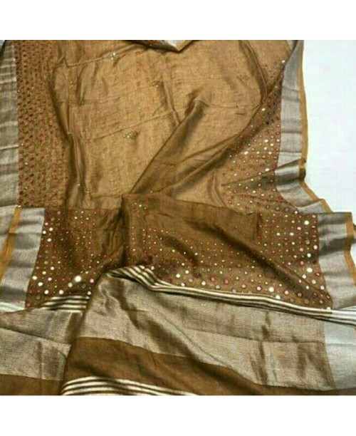 Brown linen handwoven mirror embroidery saree
