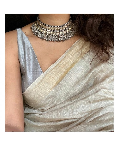 Ivory Silk Linen Saree