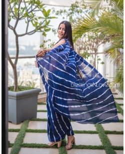 Blue And White Chiffon Lahariya Saree