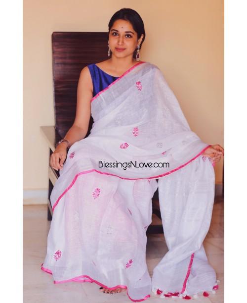 White Linen Embroidery Saree