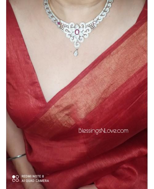 Red Silk Linen Saree