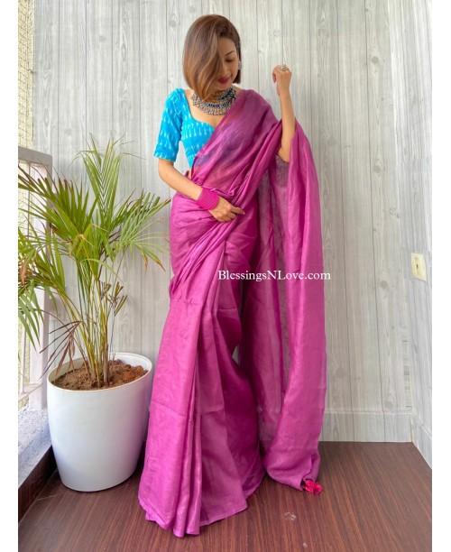 Magenta Pink Handwoven Linen Saree