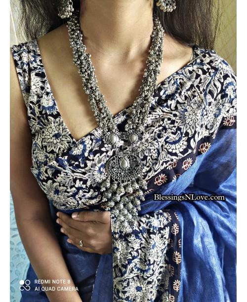 Blue Linen Kalmakari Patch Work Saree