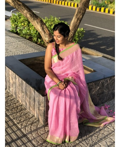 Pink Linen Saree With Golden Zari And Green Border