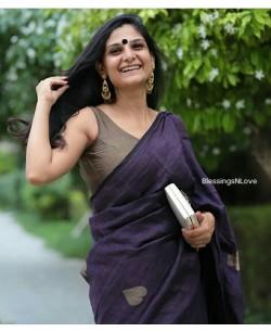 Purple Handwoven Organic Linen Saree With Heart Buta