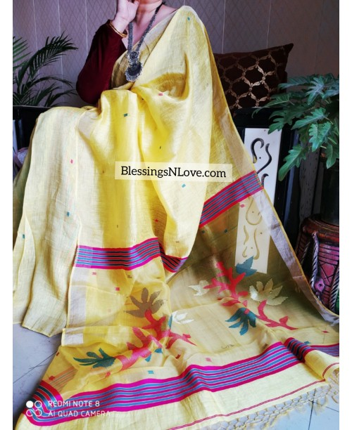 Yellow Silk Linen Jamdani