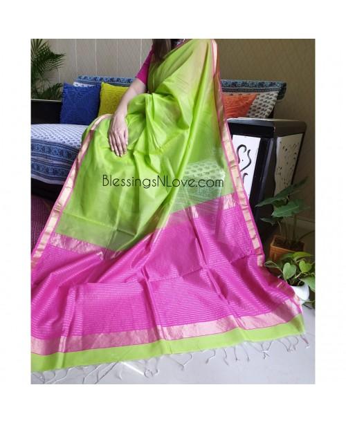 Maheswari Handloom Silk Saree (Green-Pink)