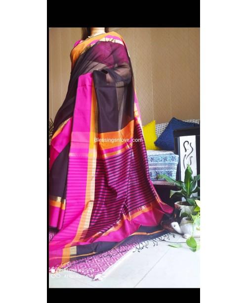 Maheswari Handloom Silk Saree (Black-Pink)