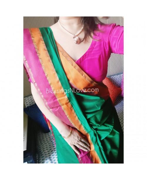 Maheswari Handloom Silk Saree (Green-Orange)