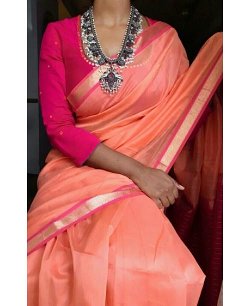 Peach Maheswari Handloom Silk Saree