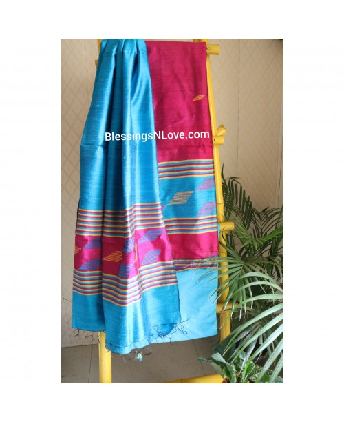 Pure Dupian Silk Magenta And Blue Suit
